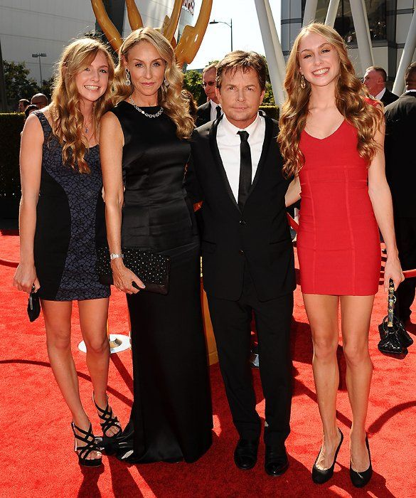 Michael J Fox/Tracy Pollan with twins Aquinnah and Schuyler (also have son Sam and daughter Esme)