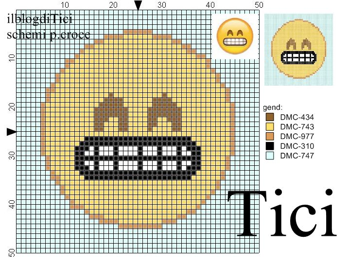 Schema punto croce Emoticon che ride