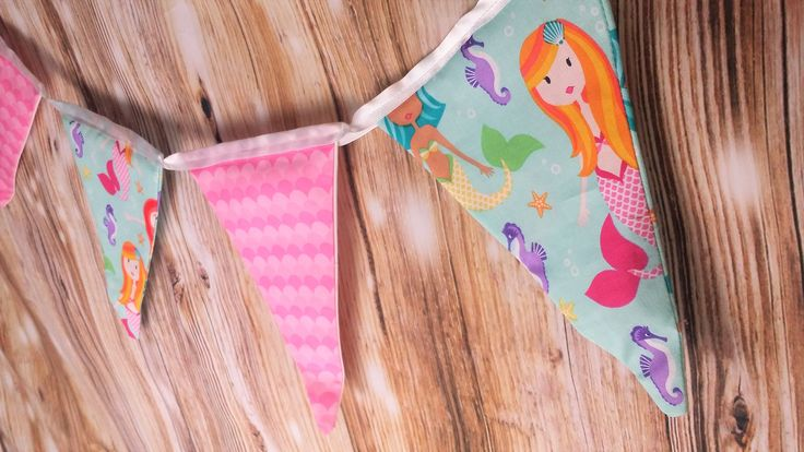 Pink Mermaid Fabric Pennant Flag Banner- Under the Sea, Nautical, Mermaid Birthday, Girl Birthday Ideas, Mermaid Scales, Bunting Flag Banner by HandschumakerRoad on Etsy