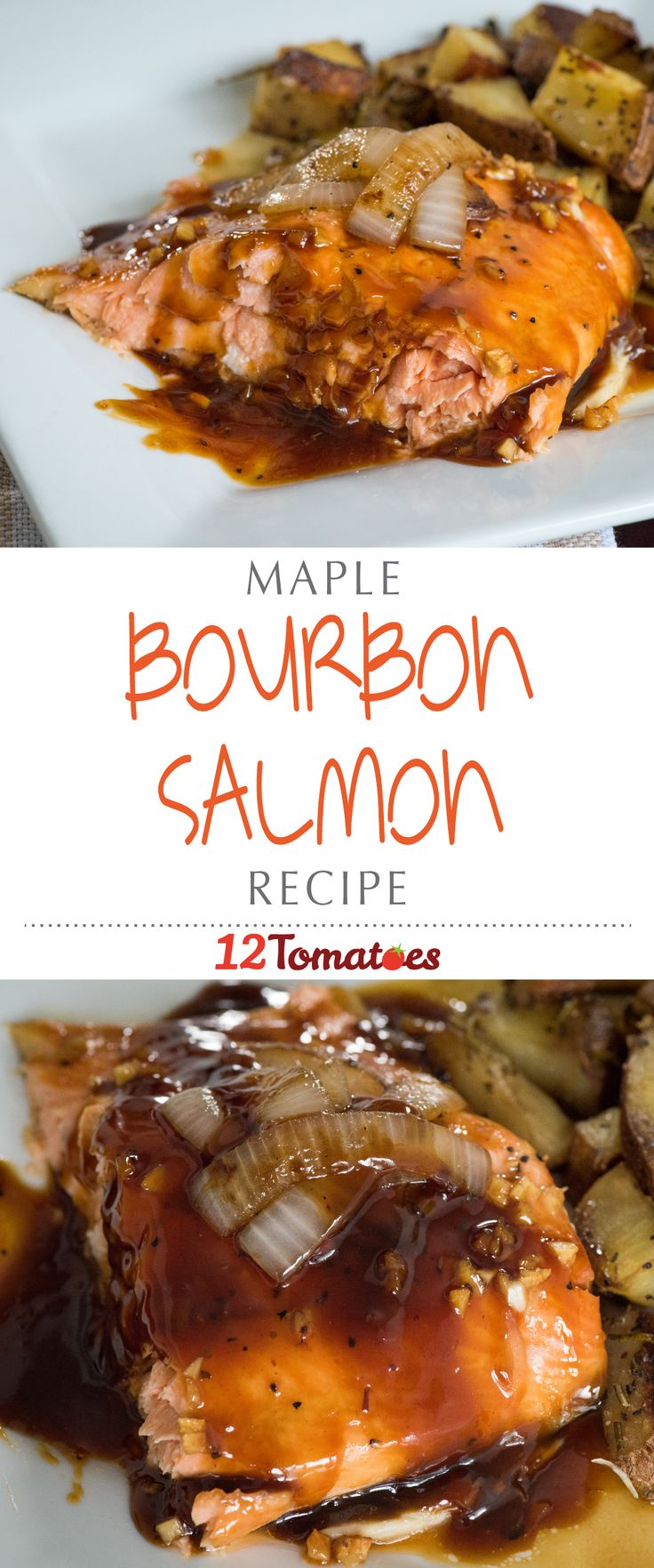 Maple Bourbon Salmon | We reduced the marinade to a syrupy glaze while the salmon baked, and not only smothered our fish in it, but our side dishes as well, it was that good.