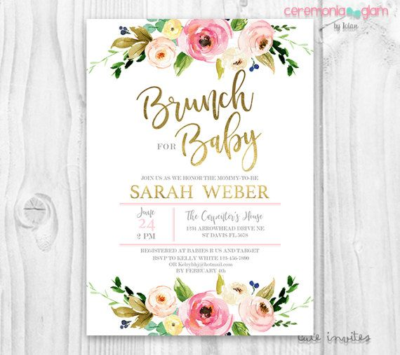 Floral Baby Shower Invitation, Brunch For Baby Invitation, Baby Girl Invites,  Boho Baby