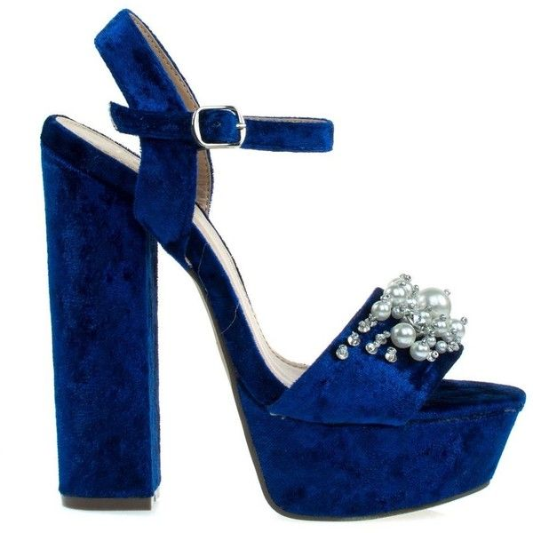 Davies1 Navy Velvet by Bamboo, Pearl On Chunky Block Heel Platform... (49 AUD) ❤ liked on Polyvore featuring shoes, sandals, navy blue shoes, platform shoes, block heel platform sandals, pearl sandals and bamboo sandals