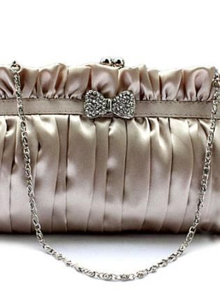 Elegant Bow Clutch Bag Satin Evening Bags Stone,  Bag, SatinInterior smooth satin fabric, Casual