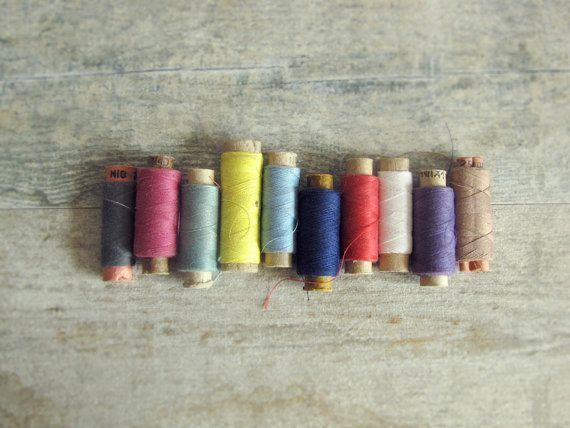 Soviet Vintage Thread Spools  set of 10 cardboard by OldTimeGoods, $12.00