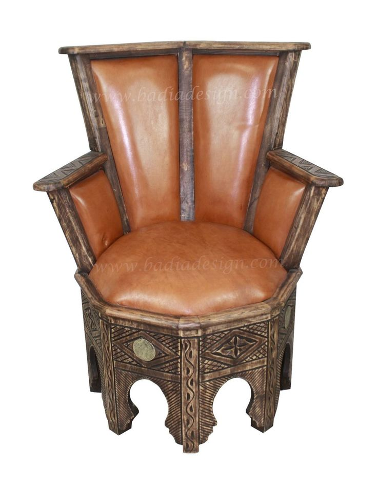 Carved Wood Leather Chair  - CW-CH015, $950.00 (http://www.badiadesign.com/moroccan-carved-wood-leather-chair-cw-ch015/), Chair, leather chair, carved wood chair, brown leather chair, living room furniture, Moroccan furniture, Morocco, Moroccan