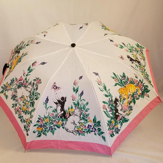 Cat Floral Butterflies Patterned 90s Small Umbrella Travel Pink Kittens  Kitty