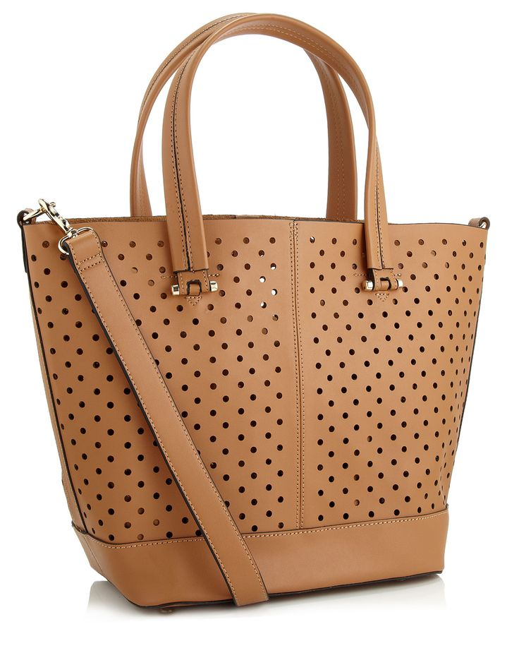 Punched Hole Tote   Brown   Accessorize