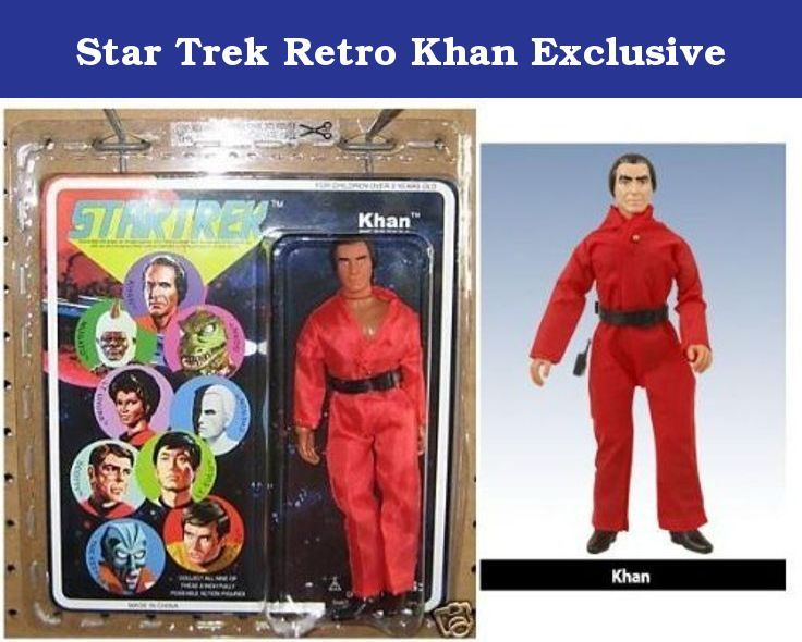 "Star Trek Retro Khan Exclusive. The brand new Mego-Esque exclusive is a version of classic series foe Khan Noonien Singh in his red jumpsuit from ""Space Seed.""."
