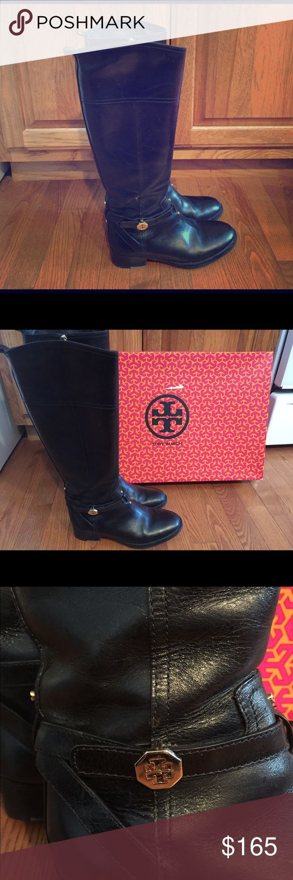 Tory Burch Brita Riding Boot, black, size 7 Gorgeous leather riding boots with gold logo detail. Still tons of wear left. Does not include box. No trades. Tory Burch Shoes Heeled Boots