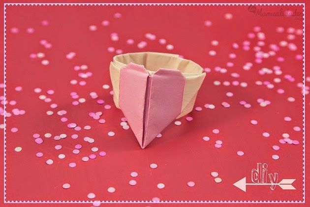craft ideas for kids, heart shaped origami rings