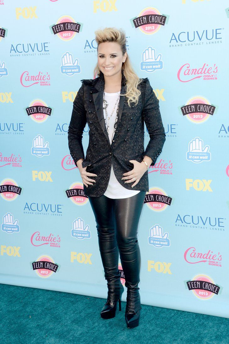 Pin for Later: These Are the Reasons We Can't Wait For the Teen Choice Awards  Demi Lovato rocked some serious leather leggings on the Teen Choice carpet.