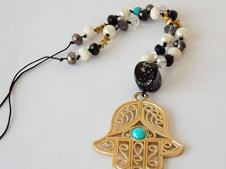 Long Necklace, Hamsa Necklace, Hand of Fatima, Hamsa Pendant Boho, Black and White Pendant, Beaded Necklace, Jewelry, Women, Yoga Pendant by AccessoriesByAA on Etsy