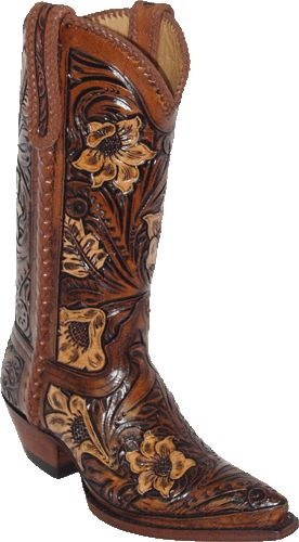 W7051: 12 inch Hand Tooled Natural Sunflower  Hand Braided Side Seams,  Collar, and Pulls Boot