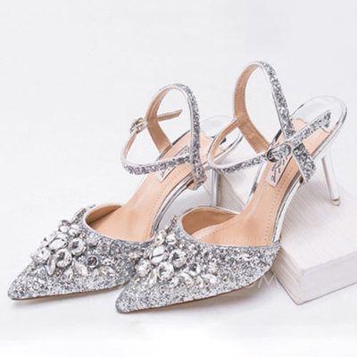 [US$ 78.99] Women's Sparkling Glitter Stiletto Heel Pumps Sandals Slingbacks With Rhinestone