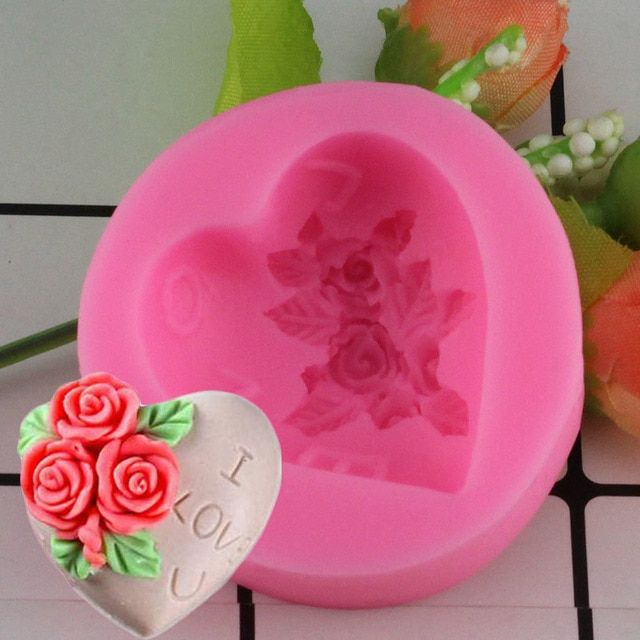 Lovely Heart Rose Flower Silicone Soap Mold Fondant Cake Making DIY Mould Tool