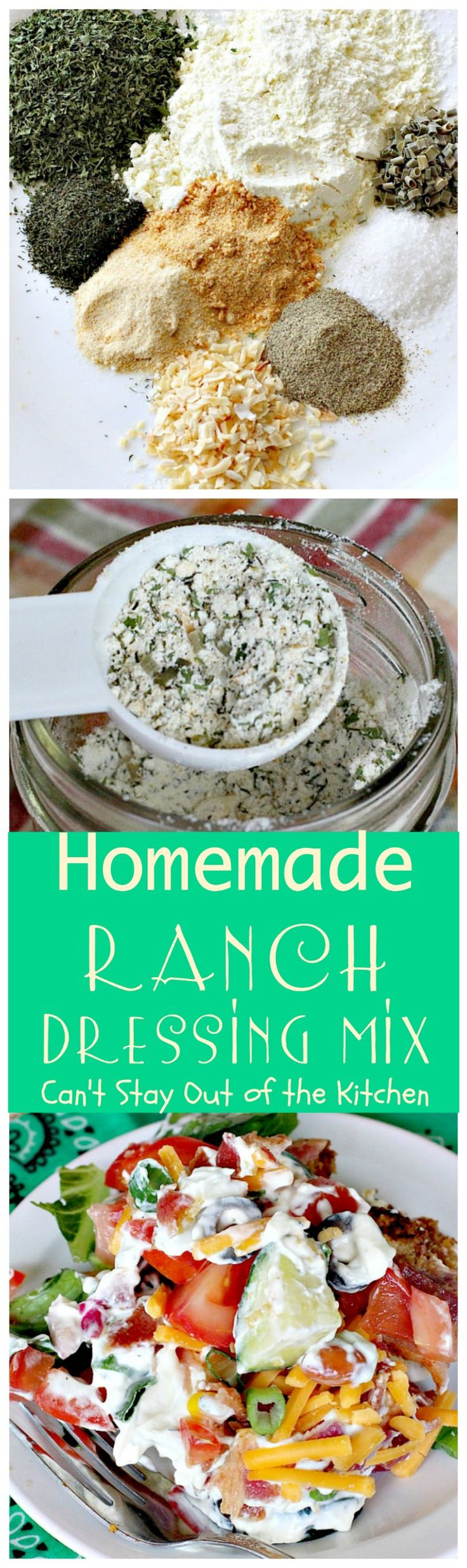 Homemade Ranch Dressing Mix | Can't Stay Out of the Kitchen | homemade #RanchDressingMix that's incredibly tasty. This one is healthy, #Glutenfree & with no preservatives. Great from-scratch recipe to serve on your favorite #salad.