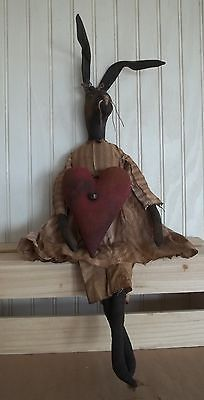 Primitive Grungy Miss Bunny Rabbit Doll with Valentine Heart