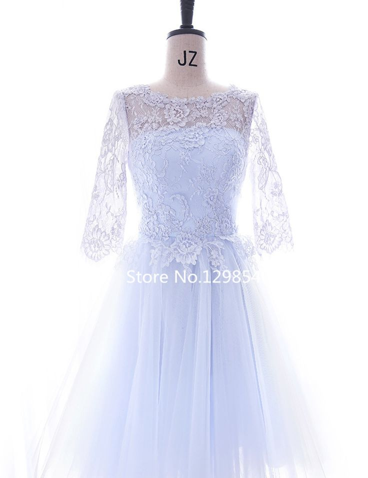 Princess Lace Applique Cocktail Dress 2016 Knee Length Real Photo Half Sleeves Tulle Party Cocktail Dress Robe De Cocktail YC05