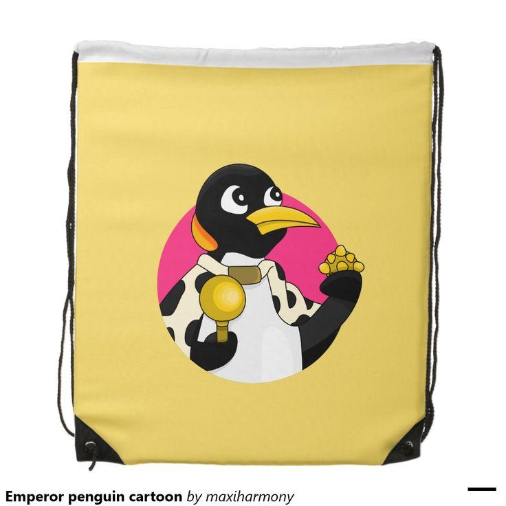 Emperor penguin cartoon drawstring bags