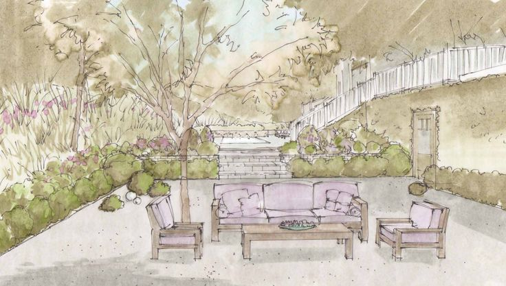 """Seating for outdoor """"living room"""" and fireplace."""