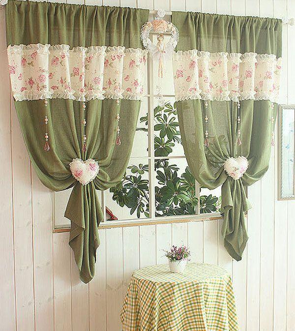 зеленые занавески для кухни