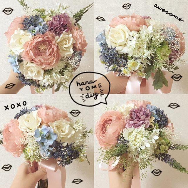 . 【cdブーケ💐💕】 昨日の手作りwdブーケに続いて、本日は手作りcdブーケ👰❤️ . 決定cdはタカミの #ネイビーアイム というドレス👗✨ネイビードレスとはいえ、チュールドレスで軽やか、グレーがかったシャビーなネイビーのドレスです💘💫なので、お花は色んな色を足して可愛くすることを意識して選びました🌼💓ちなみに、おそろいの花冠も作りました👼🌿 . 花材は、サーモンピンクのラナンキュラス、オフホワイトの薔薇をアクセントに、あとは小花とグリーンにして、野で摘んできた感を意識したんですが… 薔薇とラナンキュラスが思いの外存在感を発揮したおかげで、野で摘んできた感じではなくなりました😭💔でも好き💕笑 . wdブーケより色が入る分組むのが難しくて苦労したし、wdブーケの方が綺麗な形に作れたのですが、こちらのブーケの方がお気に入り💐❤️ . #ウェディングブーケ #weddingflowers #weddingbouquet #クラッチブーケ #手作りブーケ #diy #花嫁diy #結婚式diy #結婚式準備 #2016wedding #2016awd…