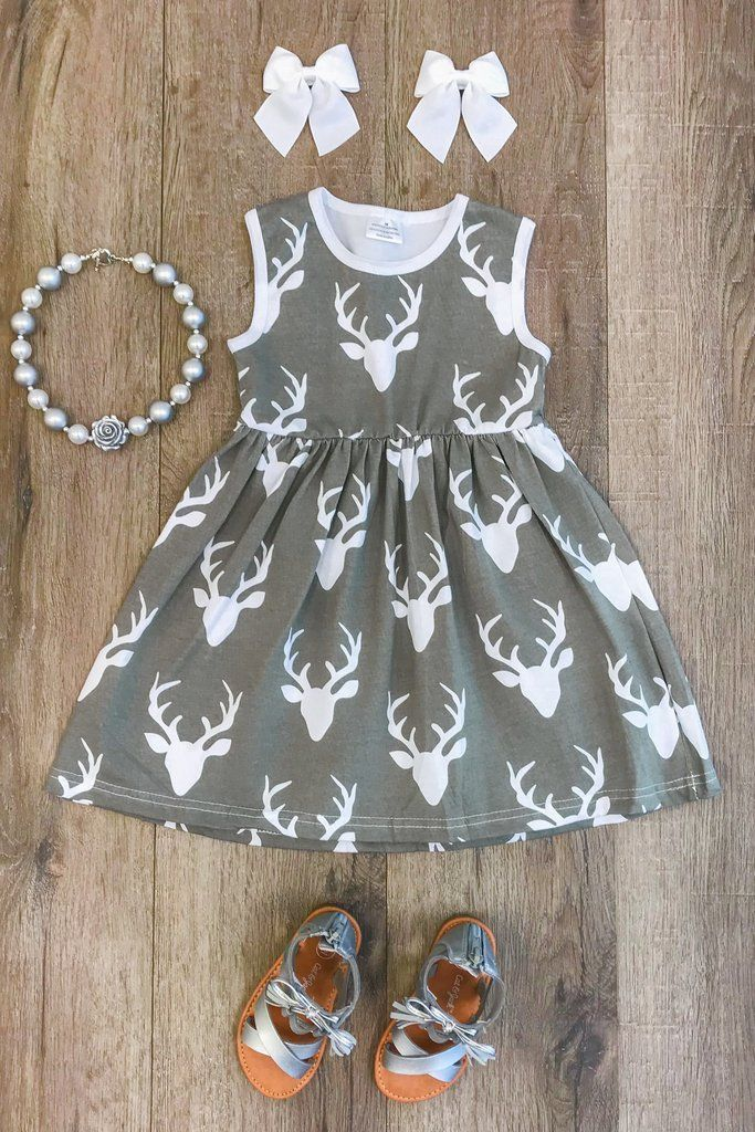 Gray Deer Tank Dress #babygirldresses