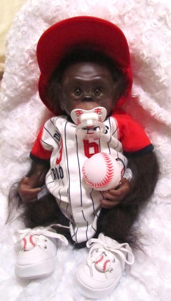Rodney Reborn Baby Monkey Chimpanzee    Baseball Player by genalc, $150.00