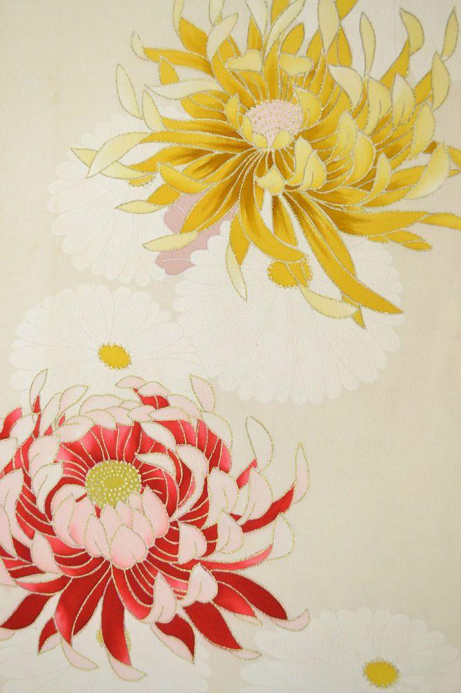 VINTAGE SILK KIMONO FABRIC:Handpaint Chrysanthemum@Z63