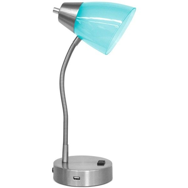 Idea Nuova Flexible Steel Desk Lamp (155 BRL) ❤ liked on Polyvore featuring home, lighting, desk lamps, teal, teal desk lamp, contemporary lamps, teal lights, teal lamp and steel lamp