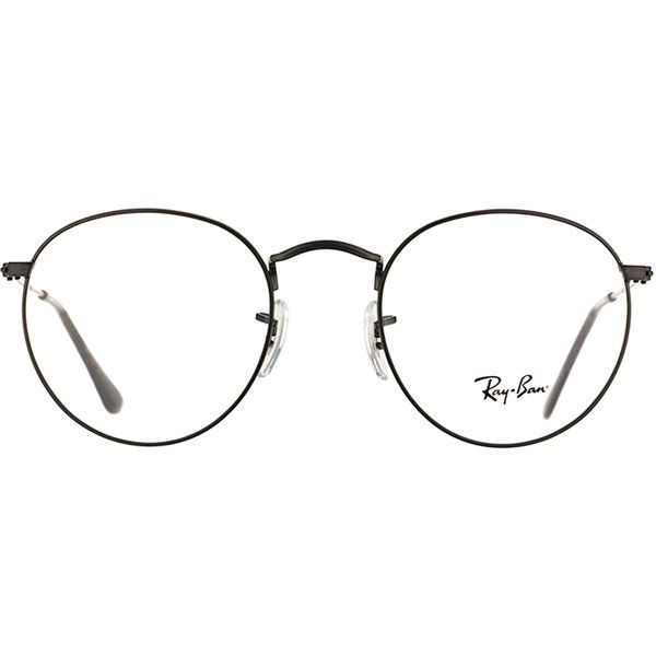 Ray-Ban RX 3447V 2503 Matte Black Clubmaster Metal Eyeglasses-50mm (£135) ❤ liked on Polyvore featuring accessories, eyewear, eyeglasses, glasses, sunglasses, black, metal eyeglasses, rounded glasses, round eye glasses and round metal glasses