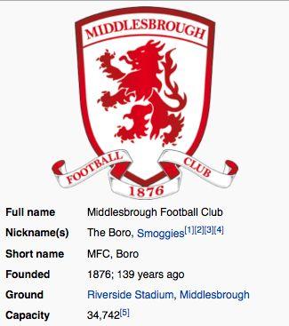 Middlesbrough F.C. ~ England
