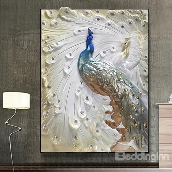 Občutljivo Tridimenzionalna Kiparstvo Peacock Uramljeno Wall Art Prints - beddinginn.com