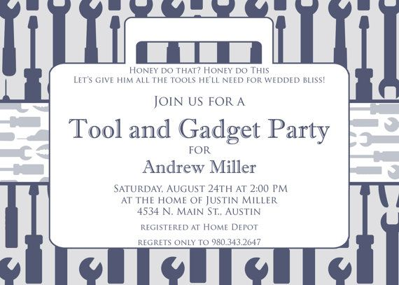 12 Best Tool Party Invites Images On Pinterest Man Shower Tool