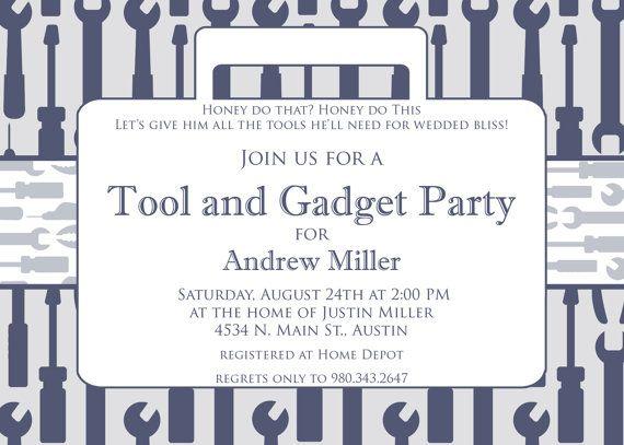 Tool and Gadget Shower- Custom Printable Invitation. $15.00, via Etsy.: Gadgets Shower, Shower Ideas, Tools Parties, Grooms Shower, Shower Custom, Cool Ideas, Parties Ideas, Great Ideas, Tools Shower