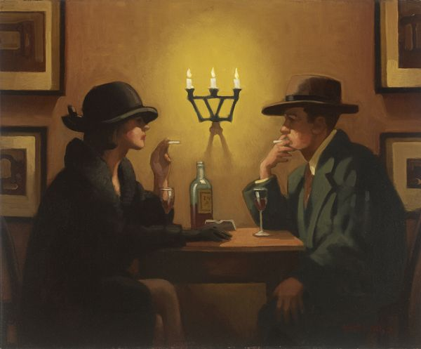 Jack Vettriano (Scottish, born 1951) 'Brief Encounter' Oil on canvas ~ 20 x 25 inches ~ 1993