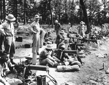 US Marine Corps officer candidates operating Browning Model 1917 heavy machine guns at Marine Corps Base Quantico, Virginia, United States, 1941-1942