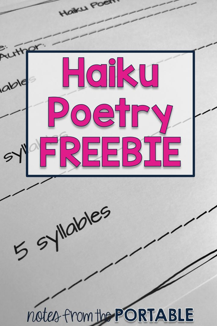The perfect way to teach haiku poetry.  My kids loved the suggestions and examples.  The free template made it easy for the kids to complete and me to use for a bulletin board!