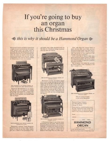 Vintage 1963 Hammond Organ Magazine Print Ad Electronics Advertising Music Room Decor