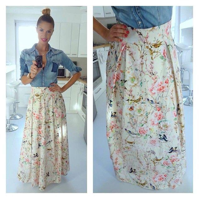 denim shirt and maxi skirt