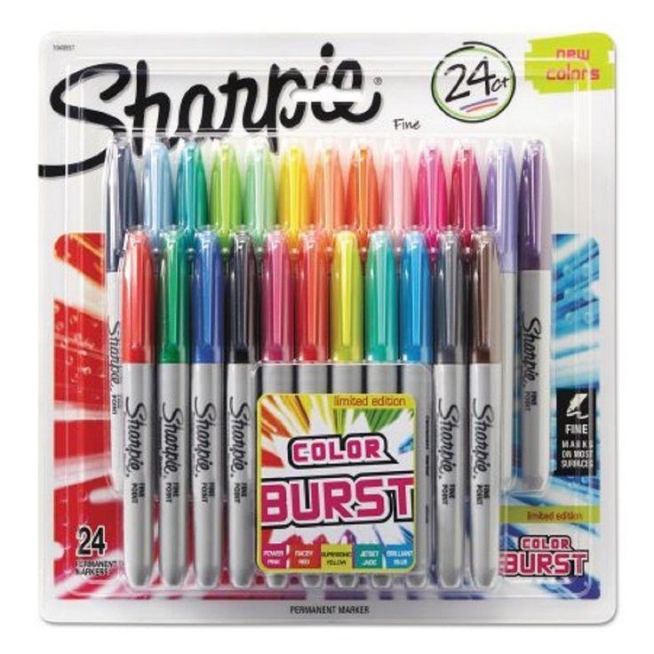 Sharpie Color Burst Permanent Markers, Fine Point, Assorted, 24pk