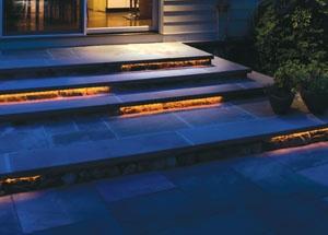 Led strip lights on outdoor steps