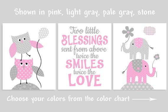 Twin Girl Nursery Art Gray and Pink Twin Room Decor Twice