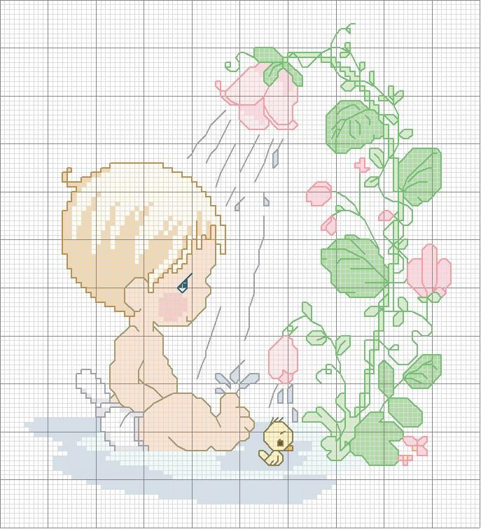 Precious Moments baby shower cross stitch