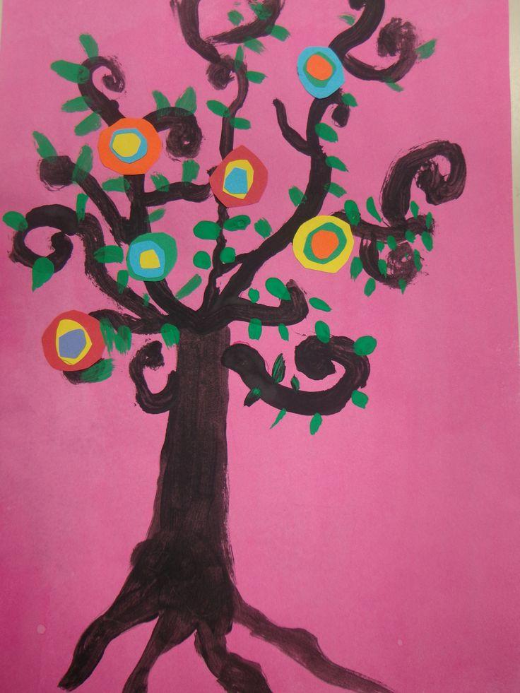 arbre en peinture et collage à la manière de Natasha Westcoat 2014 CP CE1