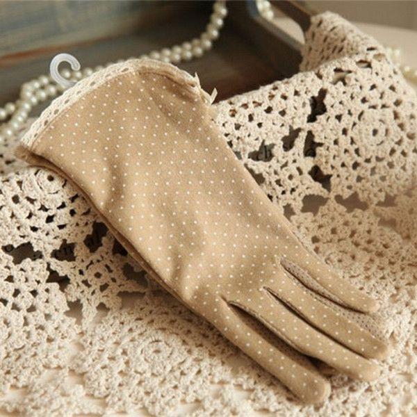 1Pair Summer Cotton Short Gloves Design Sun-shading Sunscreen Oversleeps Slip-resistant Gloves Female