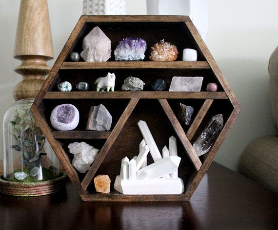 one of a kind handmade hexagon wood wall shelf with crystal collection, wood crystal sculpture and handy maiden arctic fox