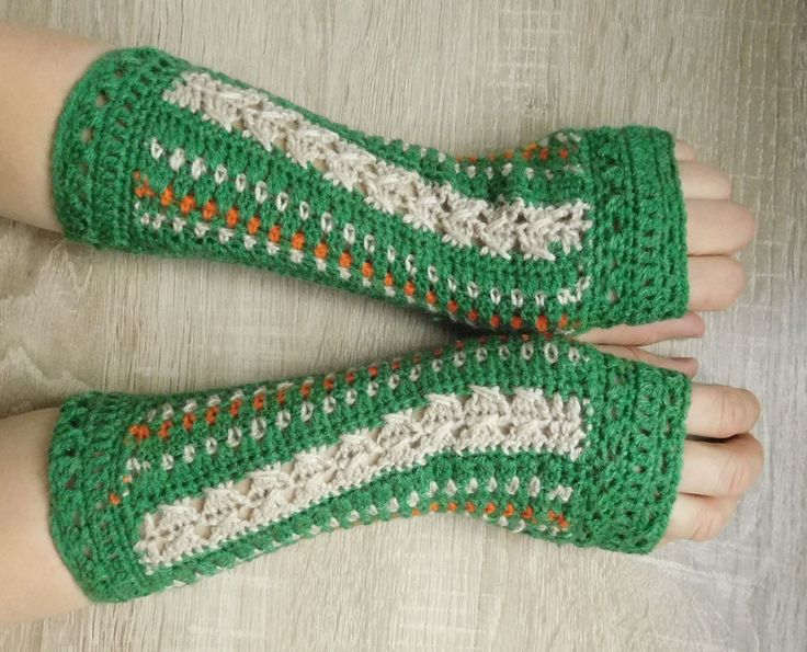 MADE TO ORDER 16099 Green-beige mittens Fingerless gloves green-beige Crocheted mittens Green-beige gloves by croshetN on Etsy