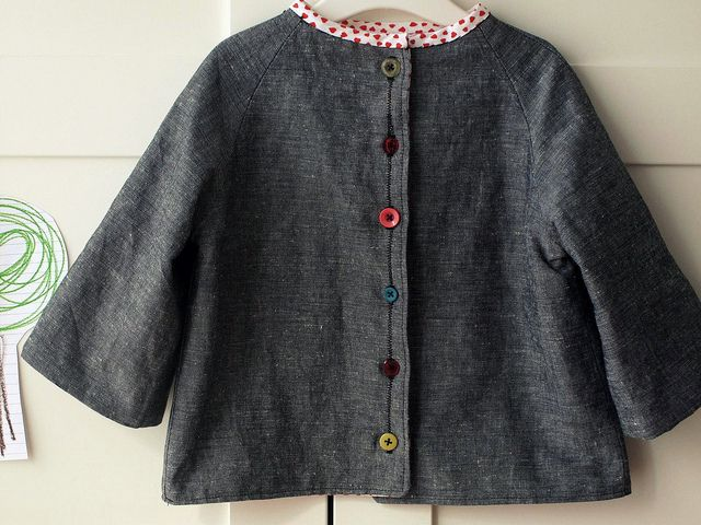 gray linen jacket with colored buttons