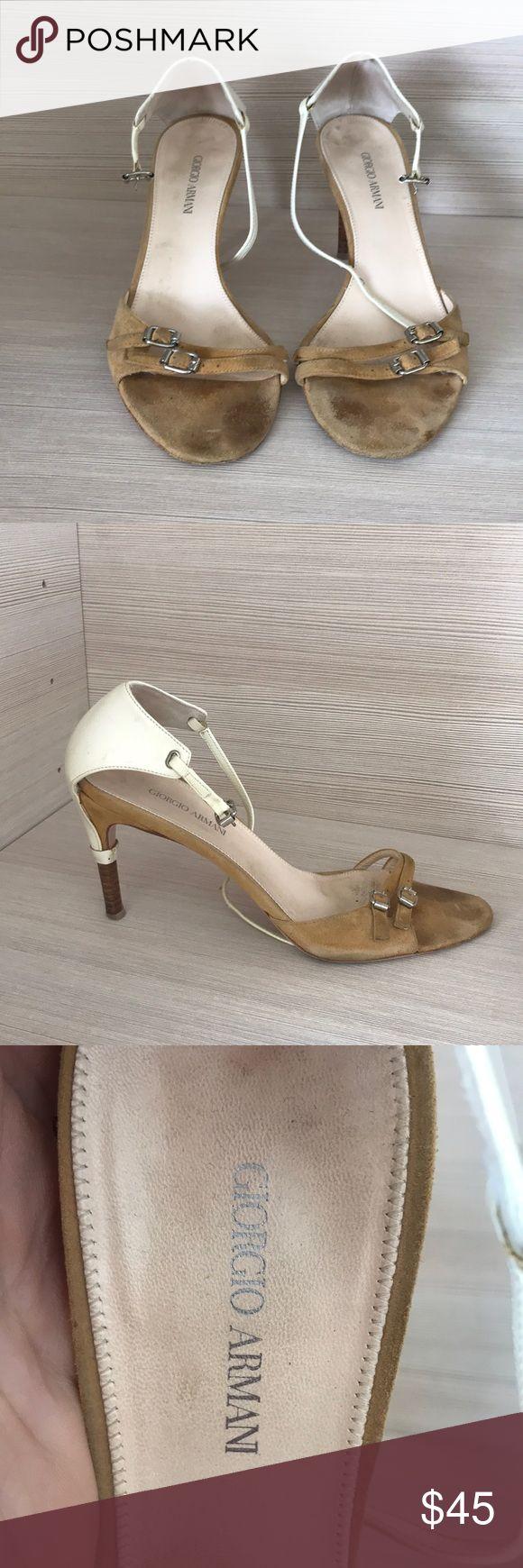 Georgio Armani heels White and beige short healed GIORGIO ARMANI shoes size 37.5 Giorgio Armani Shoes Heels